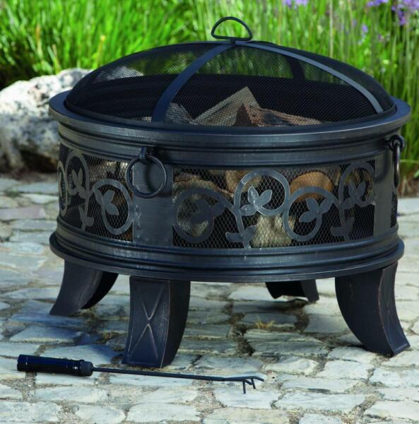 Outdoor Fire Pit Fireplace Round Steel With Mesh Cover Grate Poker Wood Burning