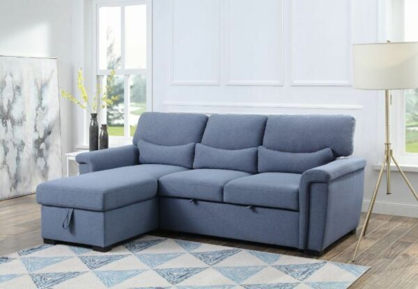 Blue Contemporary Living Room Furniture Sectional Sofa Reversible Storage Chaise $1449.99