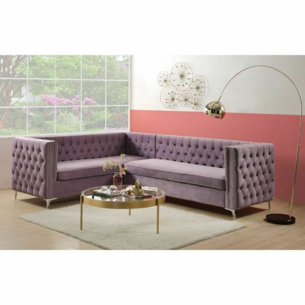 Purple Velvet Button Tufting Contemporary Living Room Furniture Sectional Sofa $1699.99