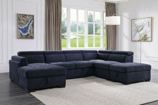 Navy Blue Fabric Contemporary Button Tufted Living Room Furniture Sectional Sofa $2149.99