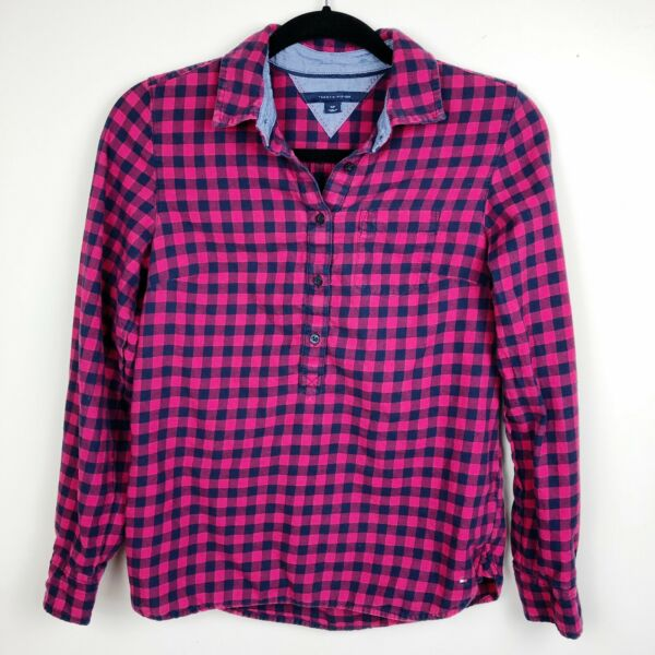 Tommy Women's Checkered Flannel Half Button Popover Small $11.00