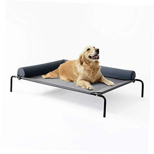 Bolster Elevated Dog Bed 49in Pet Dog Beds for Extra Large Large Grey bolster $69.00