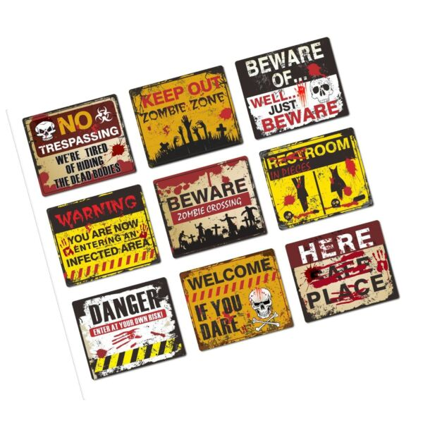 Halloween Decorations 9 Pack Beware Signs Halloween Signs Haunted House and H... $21.99