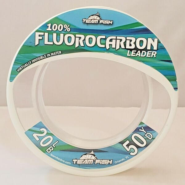 Team Fish 100% Fluorocarbon Leader 50 Yards Invisible Fishing Line 20LB 125LB $17.99