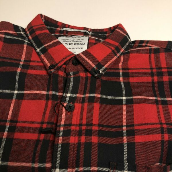 NWT On The Road Men's Flannel Slim Fit Button Down Shirt Size XLBlack RedPlaid $22.95