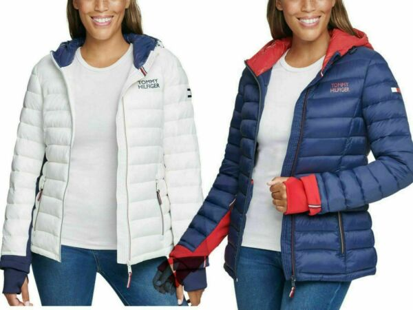 Tommy Hilfiger Ladies#x27; Packable Jacket Full Zip Storm Cuff with Logo $53.77