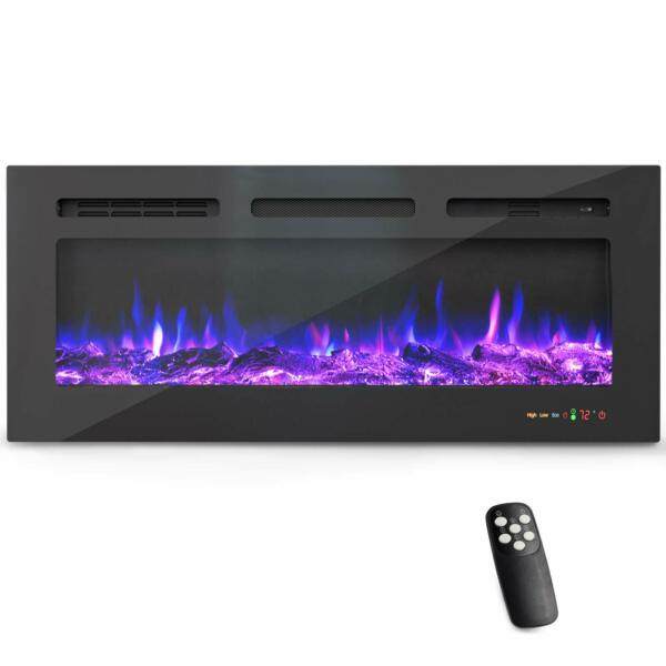 40#x27;#x27; Electric Fireplace WiFi Control Recessed Wall Mounted Touch Screen w Alexa