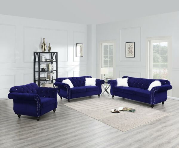 Living Room Furniture Sofa Set Indigo Tufted Sofa Loveseat Chair Velvet Fabric $1799.99