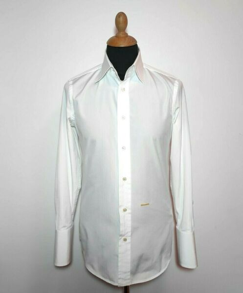 NWOT Authentic Dsquared Shirt White Men Sz.46 S Button Down Elegant Long Sleeve $135.00