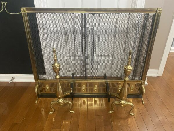 Vintage Brass Fireplace Screen And Andiron Set