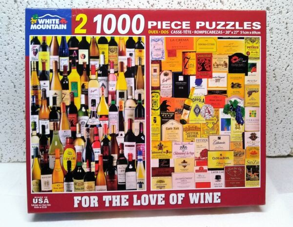 White Mountain quot;FOR THE LOVE OF WINEquot; 2 PUZZLES for 1 price 1000 piece ea $19.95