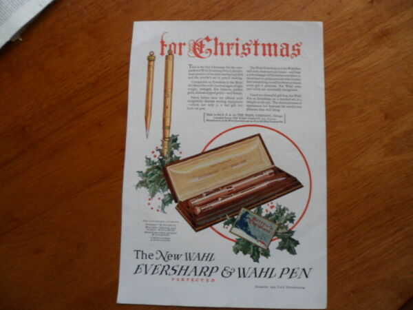 Rare 1924 ad for Eversharp amp; Wahl pen with Scranton bed linen