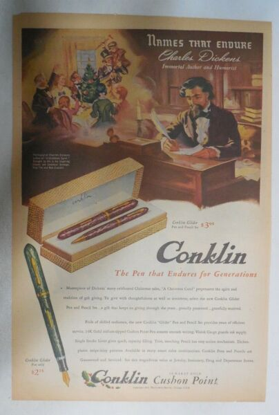Conklin Pen Ad: The Pen That Endures from 1944 Size 11 x 15 inches