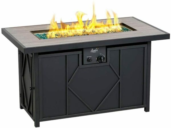 BALI OUTDOORS propane fire pit 42quot; Rectangular Gas Fire Pit Table 60000BTU Glass