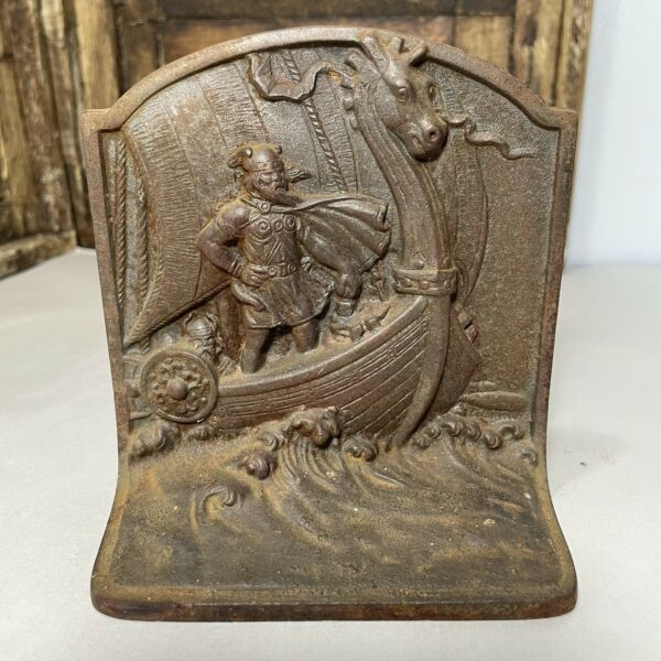 Pair of Antique Cast Iron Faded Bronze Color Viking Book Ends 19th Century