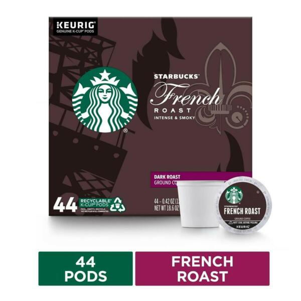 Starbucks Dark Roast K Cup Coffee Pods French Roast for Keurig Brewers 44 Pods