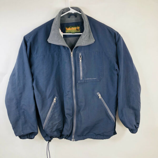 Timberland Weathergear Mens Size Large Blue Full Zip Nylon Jacket Coat $35.07
