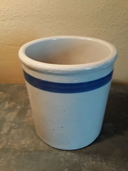 Vintage Antique Crock Stoneware With Blue Stripe