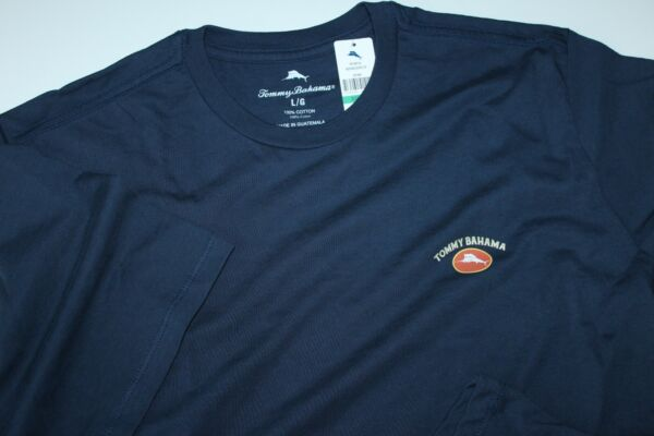 Tommy Bahama T Tee Shirt Marlin Logo Solid Navy Blue Crew Neck New Large L $14.95