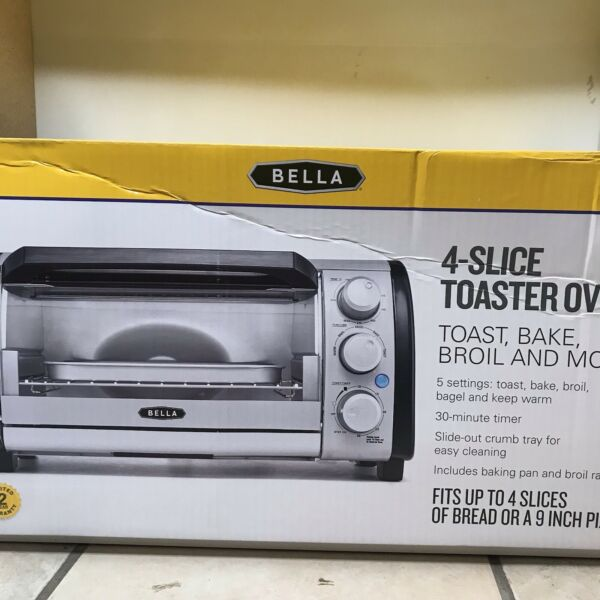 "New Bella 4 slice Toaster Quartz Oven Toast Bake Broil Fits 9"" Pizza"