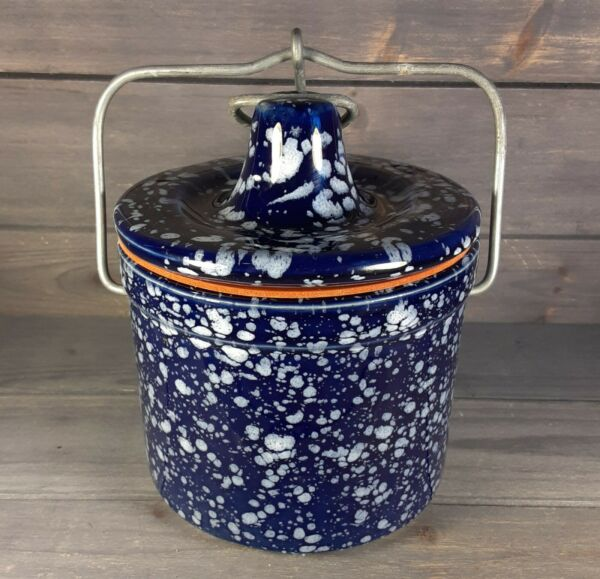 Vintage Blue And White Speckled Stoneware Butter Crock with locking lid