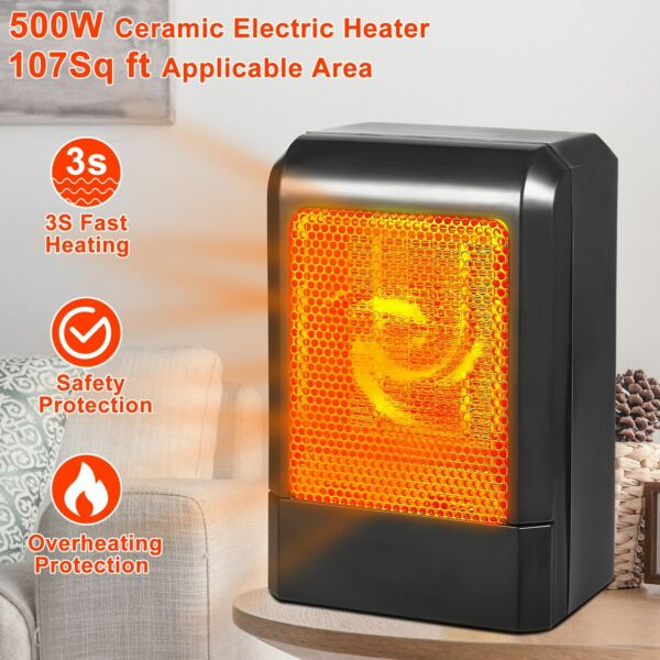 500W Mini Ceramic Electric Heater Home Office Space Heating Fan Portable Silent $17.55