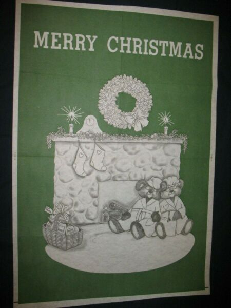 * TRI CHEM ND HUGE MERRY CHRISTMAS TEDDY LOVE FIREPLACE 24quot;X36quot; Picture to paint