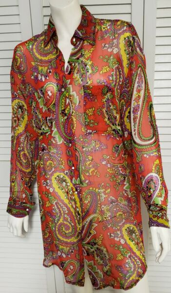 Vintage Betsey Johnson Rayon Floral Shirt Dress Size 6 8 Small EUC