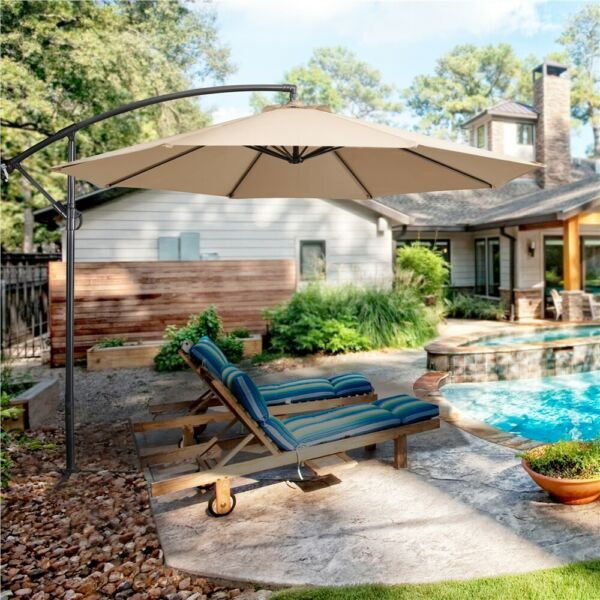 10FT Offset Cantilever Patio Hanging Umbrella Outdoor Table Market Umbrella Yard $92.99