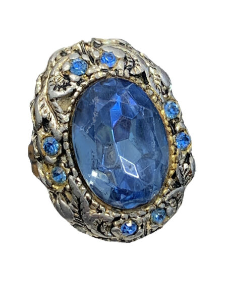 Vintage Antique glass Pale blue detailed large rhinestone ring sz 8 Adjustable