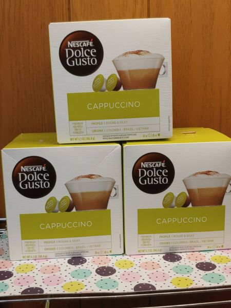 Nescafe Dolce Gusto Cappuccino Coffee 3 Boxes 48 Capsules total BB 05 2021