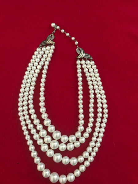 Vintage 4 Strand Pearl Necklace Great Costume Jewelry