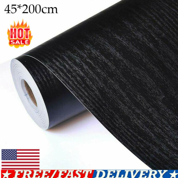 Self Adhesive Film Black Wood Grain Contact Paper Wood Peel Wallpaper US Stock