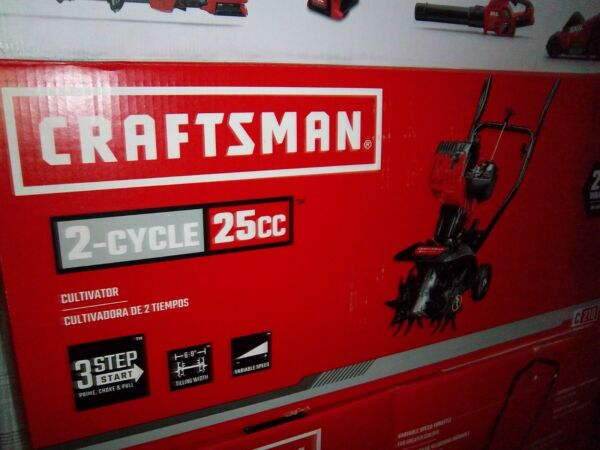 NEW CRAFTSMAN Gas Powered Tiller Cultivator 2 CYCLE 25 CC FRONT TINE FREE SHIP