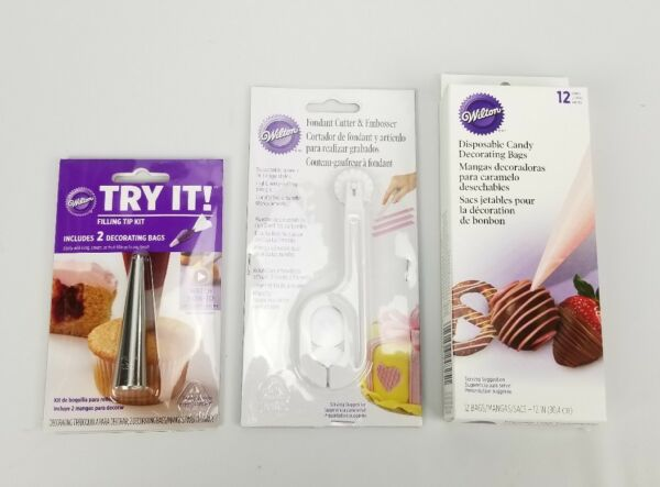 Lot of 3 Candy Decorating Disposable Bags Fondant Cutter Filling Tip Kit New $10.94