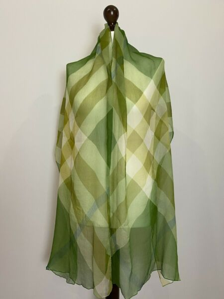 Burberry Green Mega Check Silk Scarf 195x50cm 100% Authentic $150.00