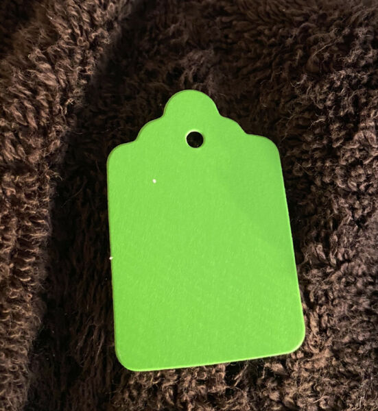 """800 Blank Green Merchandise Price Tags NO Strings Size #6: 1 1 4"""" X 1 15 16"""""""