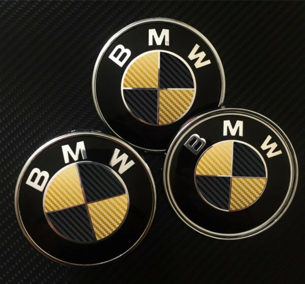 BMW Carbon Wrap Decal Badge Roundel Overlay 1 2 3 4 5 X M E F Series BLACK GOLD $9.85