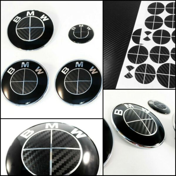BMW Carbon Wrap Decal Badge Roundel Overlay 1 2 3 4 5 6 7 8 M E F Series BLACK $9.85
