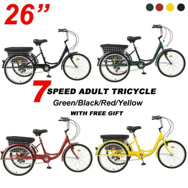New 26quot; Adult 7 Speed Tricycle 3 Wheels Trike Bicycle W Shopping Basket Bike A $265.55