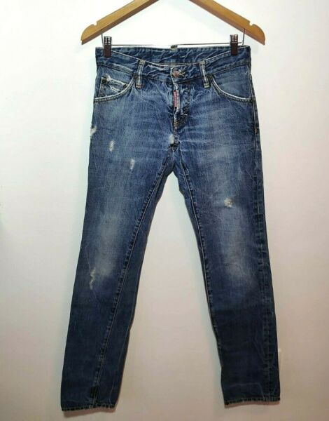 Dsquared Jeans Men 42 Authentic W32 L34 Distressed Blue Slim Fit Made in Italy $117.00
