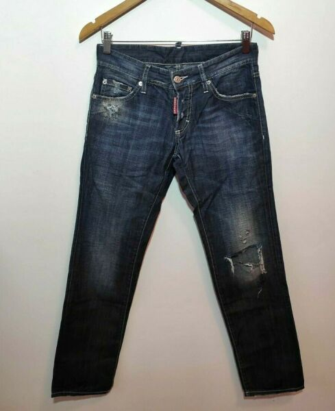 Dsquared Jeans Men 42 Authentic W30 L30 Distressed Blue Slim Fit Made in Italy $117.00