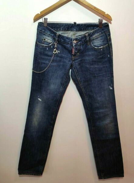 Dsquared Jeans Chain Men 44 Authentic W32 L34 Blue Ean An Slim Fit Made in Italy $135.00