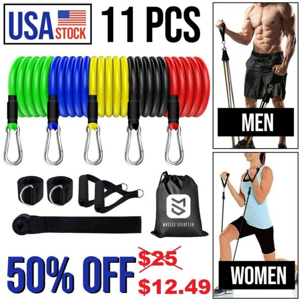 11Pcs Resistance Bands Home Workout Exercise Cross fit Fitness Training Gym Tube $14.99