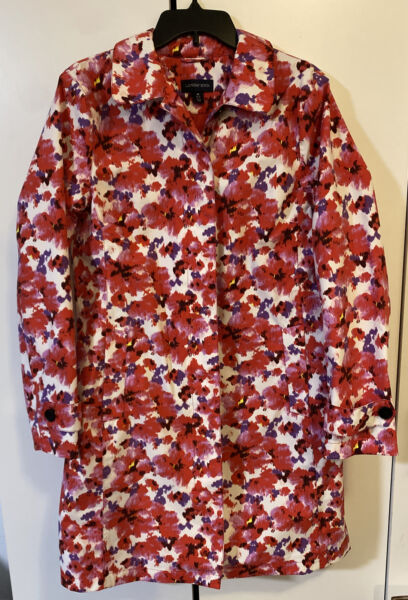 Lands End Rain Jacket Trench Coat Lined Lightweight Red Pink Purple Floral M