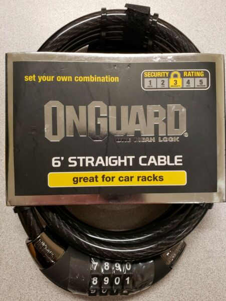 OnGuard Combination Cable Lock 6 Foot Straight Cable Car Racks Bikes Trailer NEW $9.95