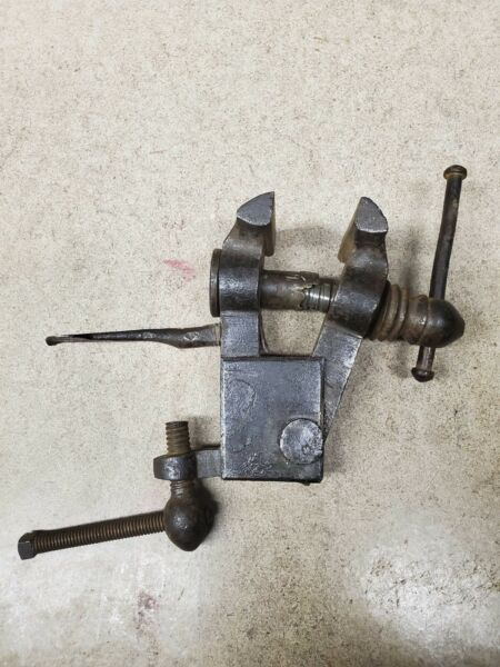Small Antique Blacksmith Hand Forged Table Bench Vise Clamp Tool