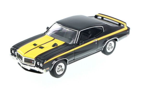 1970 BUICK GSX BLACK W YELLOW DETAIL 1:24 CAR BY WELLY 22433 4D DIE CAST