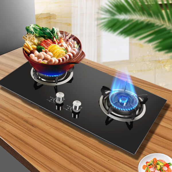 Tempered Glass 2 Burners Kitchen Liquefied Gas Stove Household Kitchen Cooktops