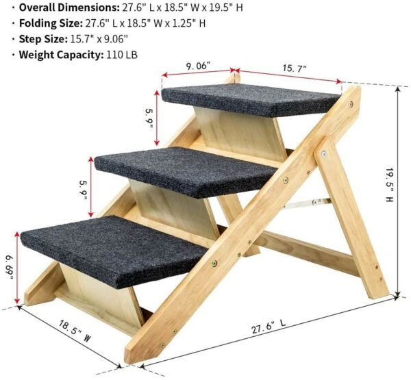 MEWANG 2 in 1 Wood Pet Stairs amp; Ramp Foldable 3 Levels Stairs for Dogs amp; Cats